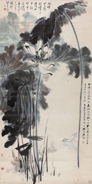 北京保利八周年秋拍丨张大千《荷花鸥鹭》