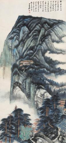 《峨眉接引殿》:张大千顶级青绿山水