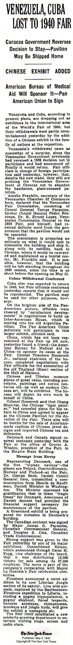 張善子先生取消他的返國行程  以便参加《1940 年紐約世界博覽會》