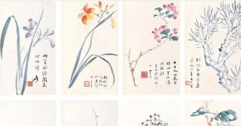 张大千的花鸟册页,静美!